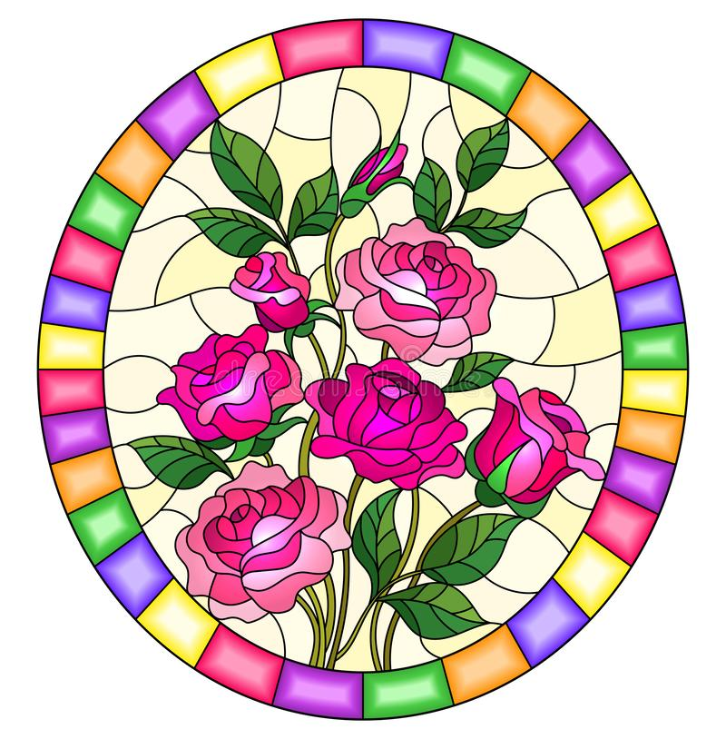Stained glass illustration with a bouquet of pink roses on a yellow background in a bright frame,oval image. Illustration in stained glass style with a bouquet royalty free illustration