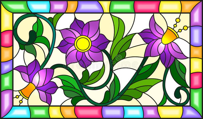 Stained glass illustration with a branch of a flowering plant with purple flowers on a yellow background in a bright frame,rectan. Illustration in stained glass vector illustration
