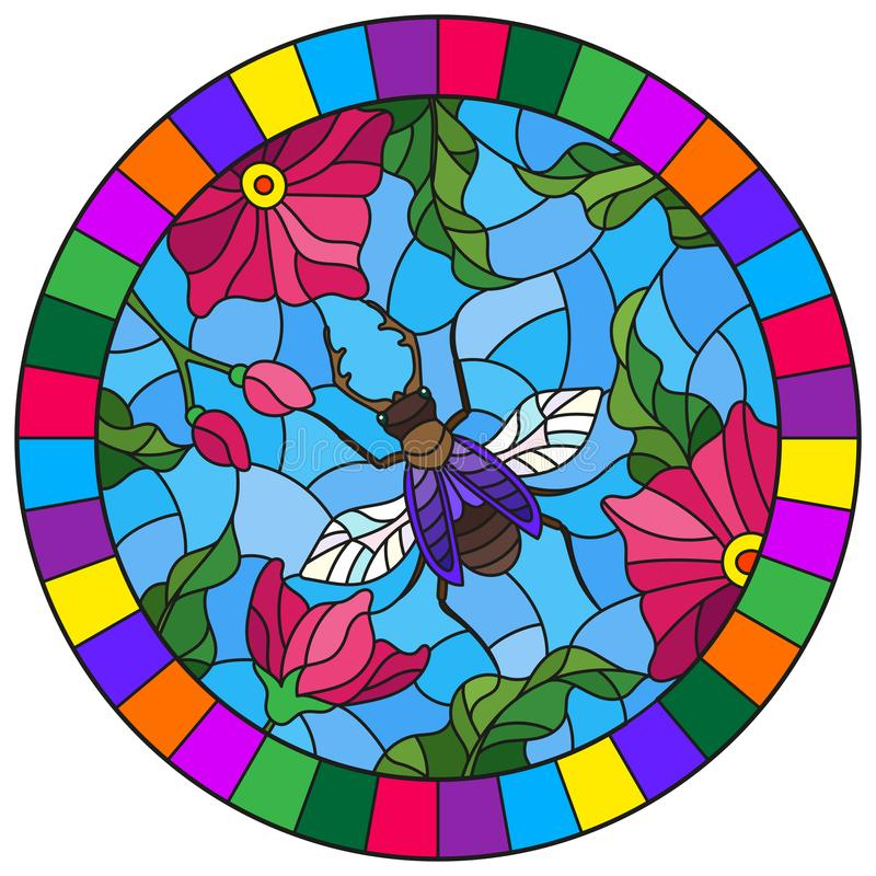 Stained glass illustration with a bright pink flowers and bug on a blue background, round image in bright frame stock illustration