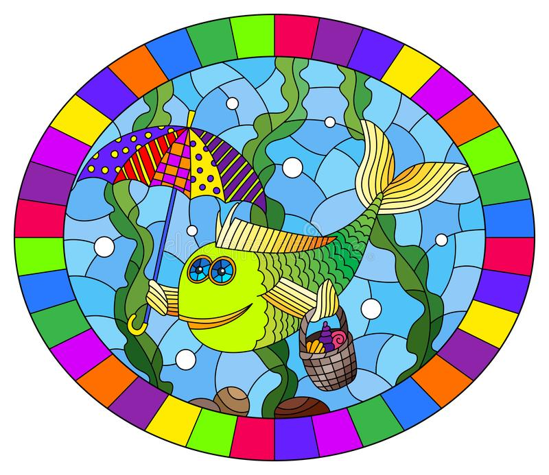 Stained glass illustration with  cartoon funny fish under an umbrella on the background of the seabed and algae, oval image in bri. Illustration in stained glass vector illustration