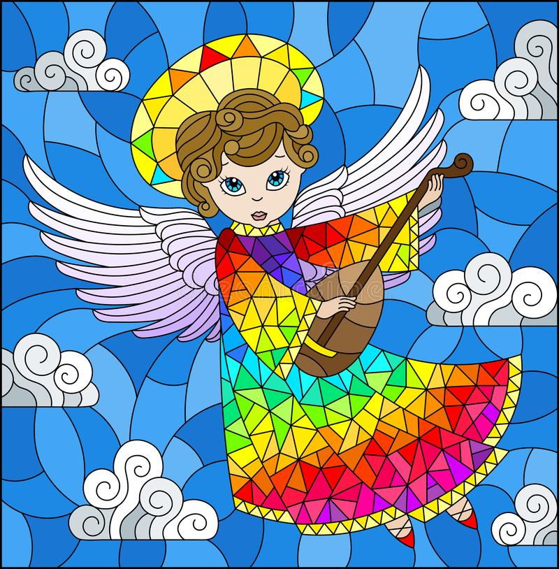 Stained glass illustration with cartoon rainbow angel playing the lute against the cloudy sky vector illustration