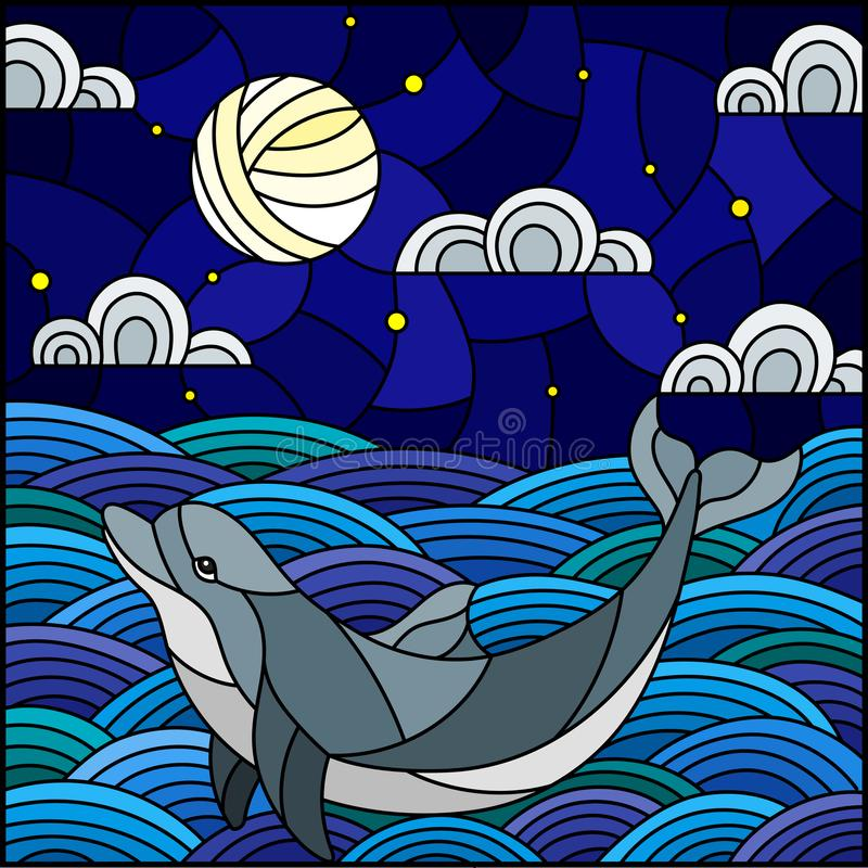 Stained glass illustration dolphin into the waves, starry sky,moon and clouds, square image. Illustration in stained glass style dolphin into the waves, starry stock illustration