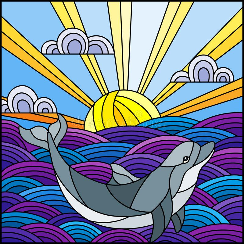 Stained glass illustration dolphin into the waves, Sunny sky and clouds, square image. Illustration in stained glass style dolphin into the waves, Sunny sky and vector illustration