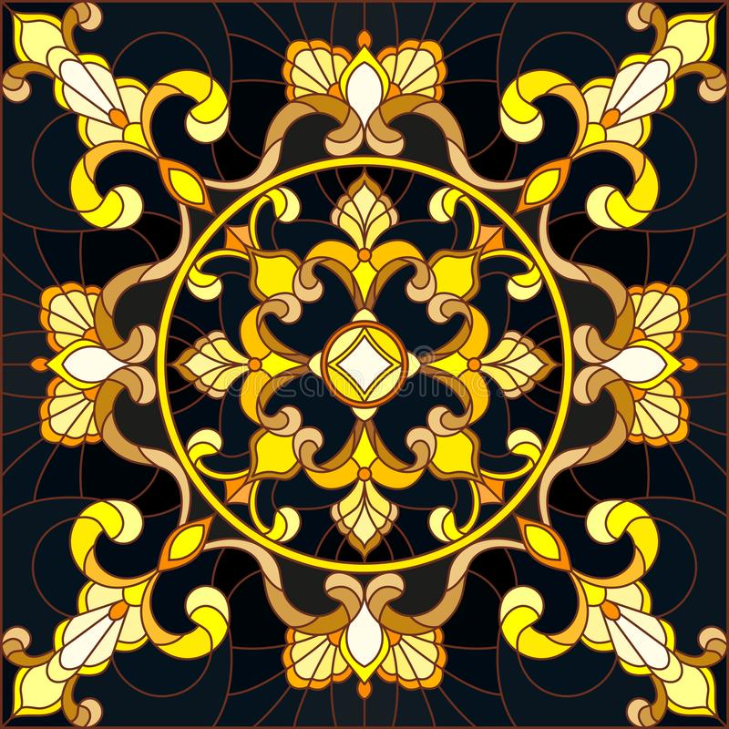 Stained glass illustration with floral ornament ,imitation gold on dark background with swirls and floral motifs. Illustration in stained glass style with floral royalty free illustration
