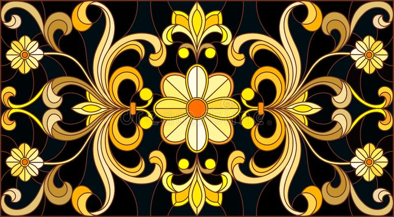 Stained glass illustration with  floral ornament ,imitation gold on dark background with swirls and floral motifs. Illustration in stained glass style with royalty free illustration
