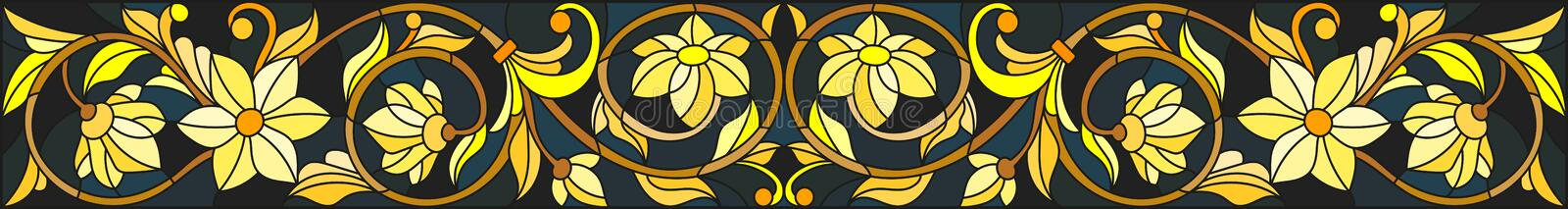 Stained glass illustration with floral ornament ,imitation gold on dark background with swirls and floral motifs vector illustration