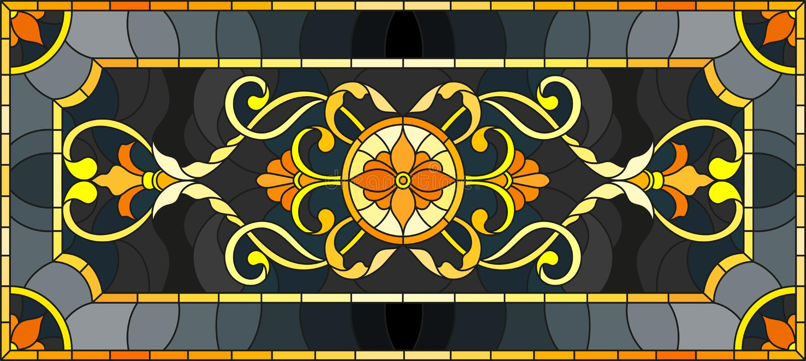Stained glass illustration with floral ornament ,imitation gold on dark background with swirls and floral motifs stock illustration