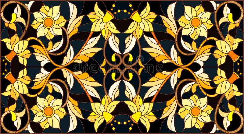 Stained glass illustration with floral ornament ,imitation gold on dark background with swirls and floral motifs. Illustration in stained glass style with floral stock illustration