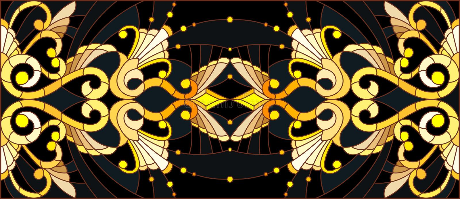 Stained glass illustration with  floral ornament ,imitation gold on dark background with swirls and floral motifs. Illustration in stained glass style with stock illustration