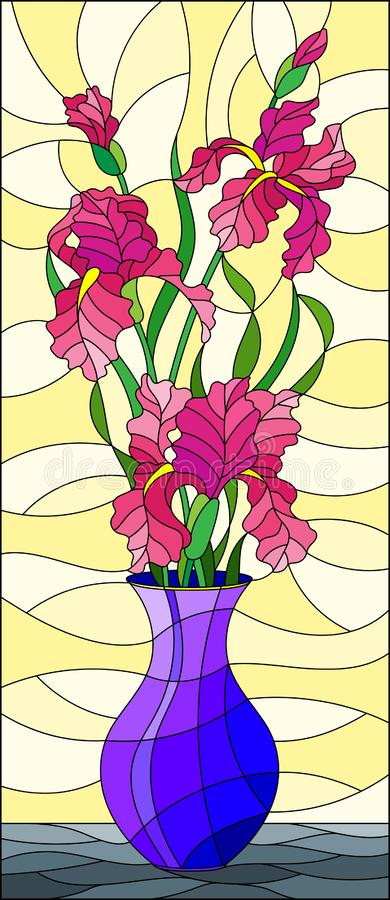 Stained glass illustration with floral still life, bouquet of pink irises in a blue vase on a yellow background. Illustration in stained glass style with floral stock illustration