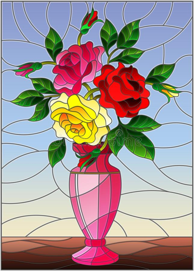 Stained glass illustration with floral still life, colorful bouquet of roses in a pink vase on a blue background. Illustration in stained glass style with floral vector illustration