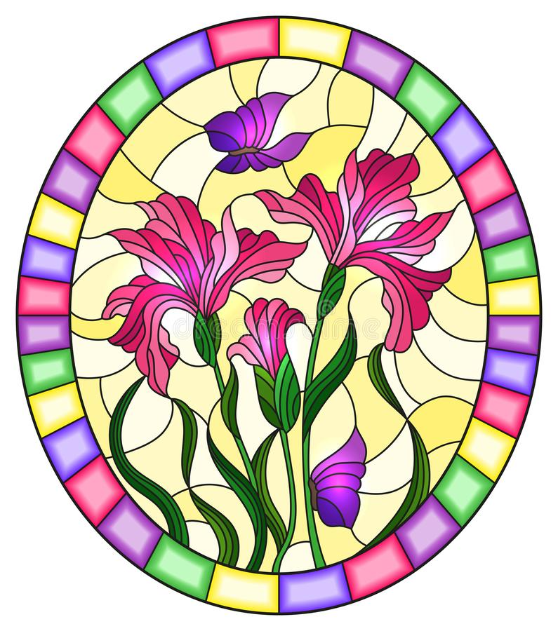 Stained glass illustration with flower of pink irises and purple butterflies on a yellow background in a bright frame,oval imag. Illustration in stained glass stock illustration