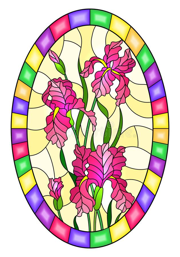Stained glass illustration with flower of pink irises on a yellow background in a bright frame,oval image. Illustration in stained glass style flower of pink stock illustration