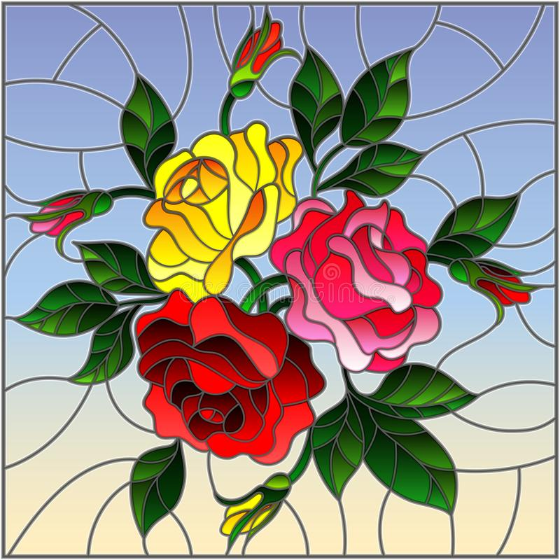 Stained glass illustration with flowers, buds and leaves of roses on a sky background stock illustration