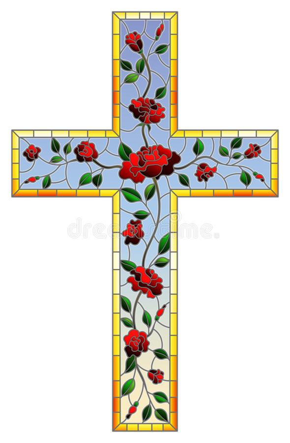 Stained glass illustration painting on religious themes, stained glass window in the shape of a Christian cross decorated with re. The illustration in stained royalty free illustration