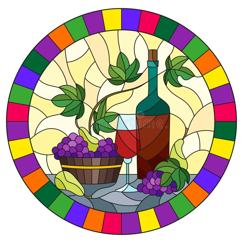 Stained glass illustration with a still life, a bottle of wine, glass and grapes on a yellow background, round image in bright fra. The illustration in stained vector illustration
