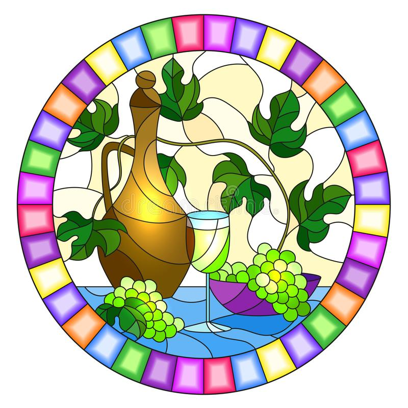 Stained glass illustration with a still life, a jug of wine, glass and grapes on a yellow background,oval image in bright frame. The illustration in stained royalty free illustration