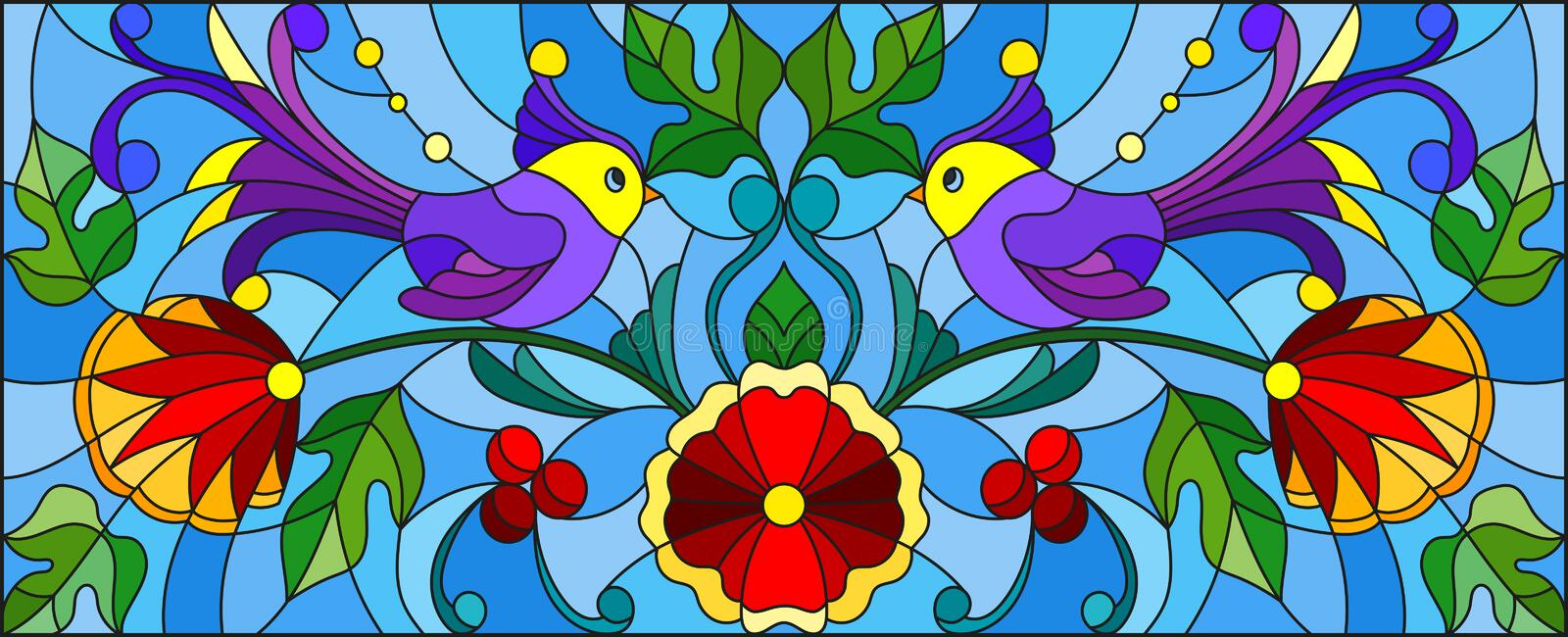 Stained glass illustration with a pair of abstract purple birds , flowers and patterns on a blue background , horizontal image stock illustration
