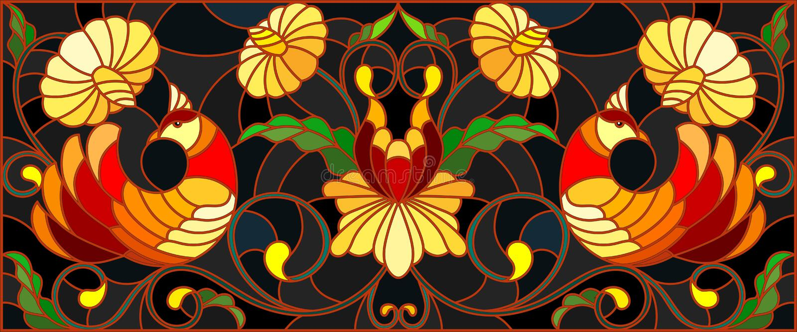 Stained glass illustration with a pair of birds , flowers and patterns on a dark background , horizontal image,the imitation of p vector illustration