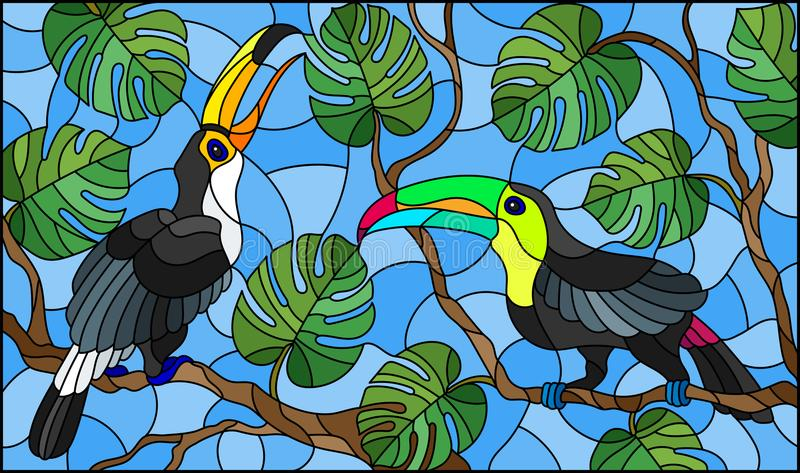 Stained glass illustration ,pair of birds Toucan on branch tropical tree against the sky. Illustration in stained glass style ,pair of birds Toucan on branch vector illustration