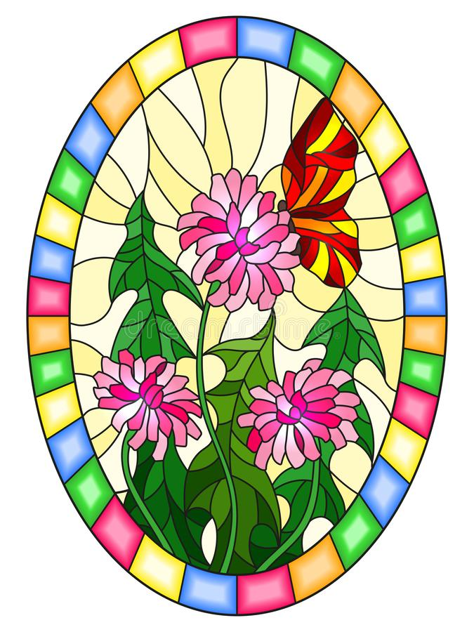 Stained glass illustration with pink flowers and red butterfly on a yellow background,oval image in bright frame royalty free illustration
