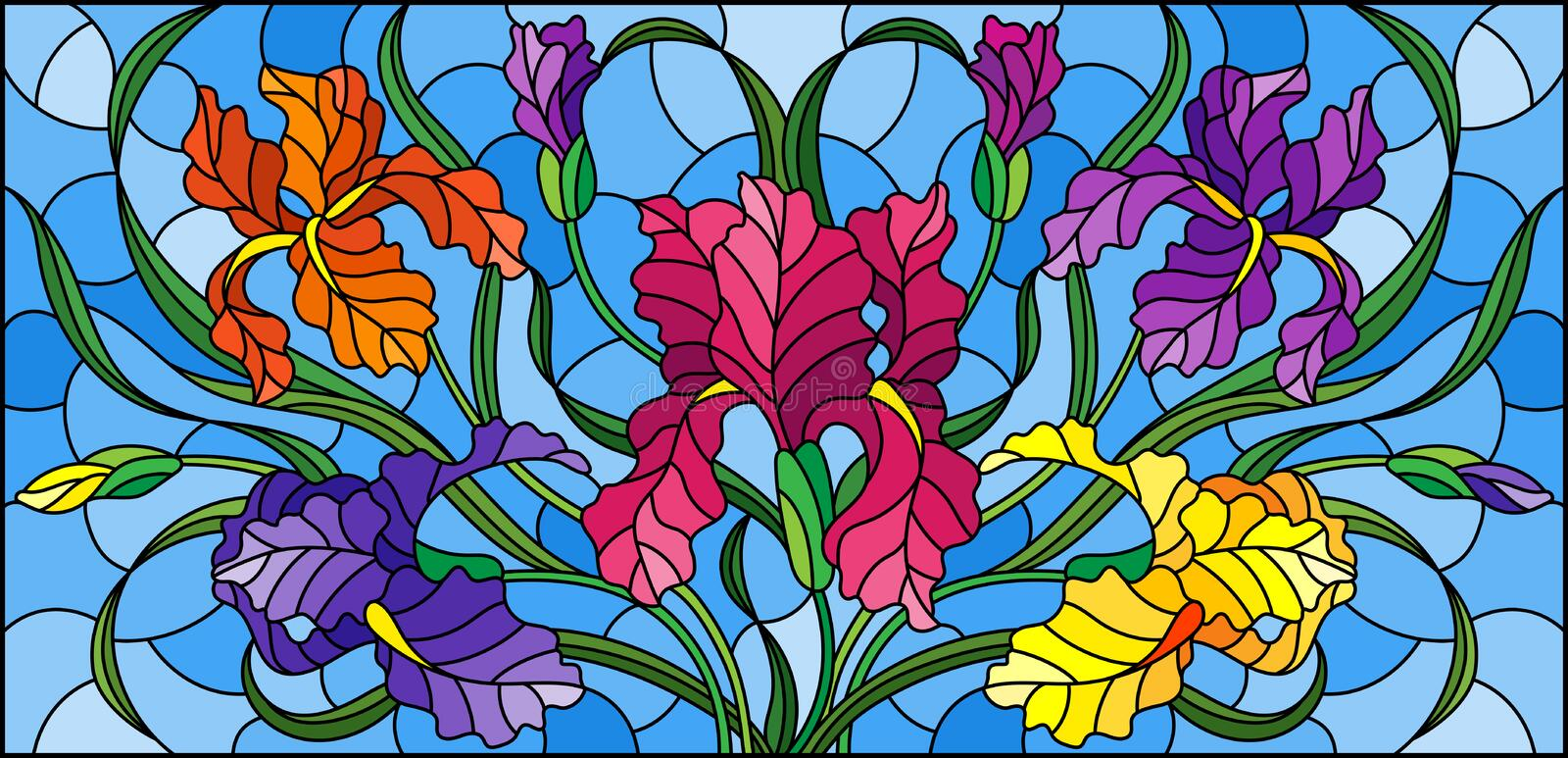 Stained glass illustration with  purple bouquet of irises, flowers, buds and leaves on blue background. Illustration in stained glass style with purple bouquet vector illustration