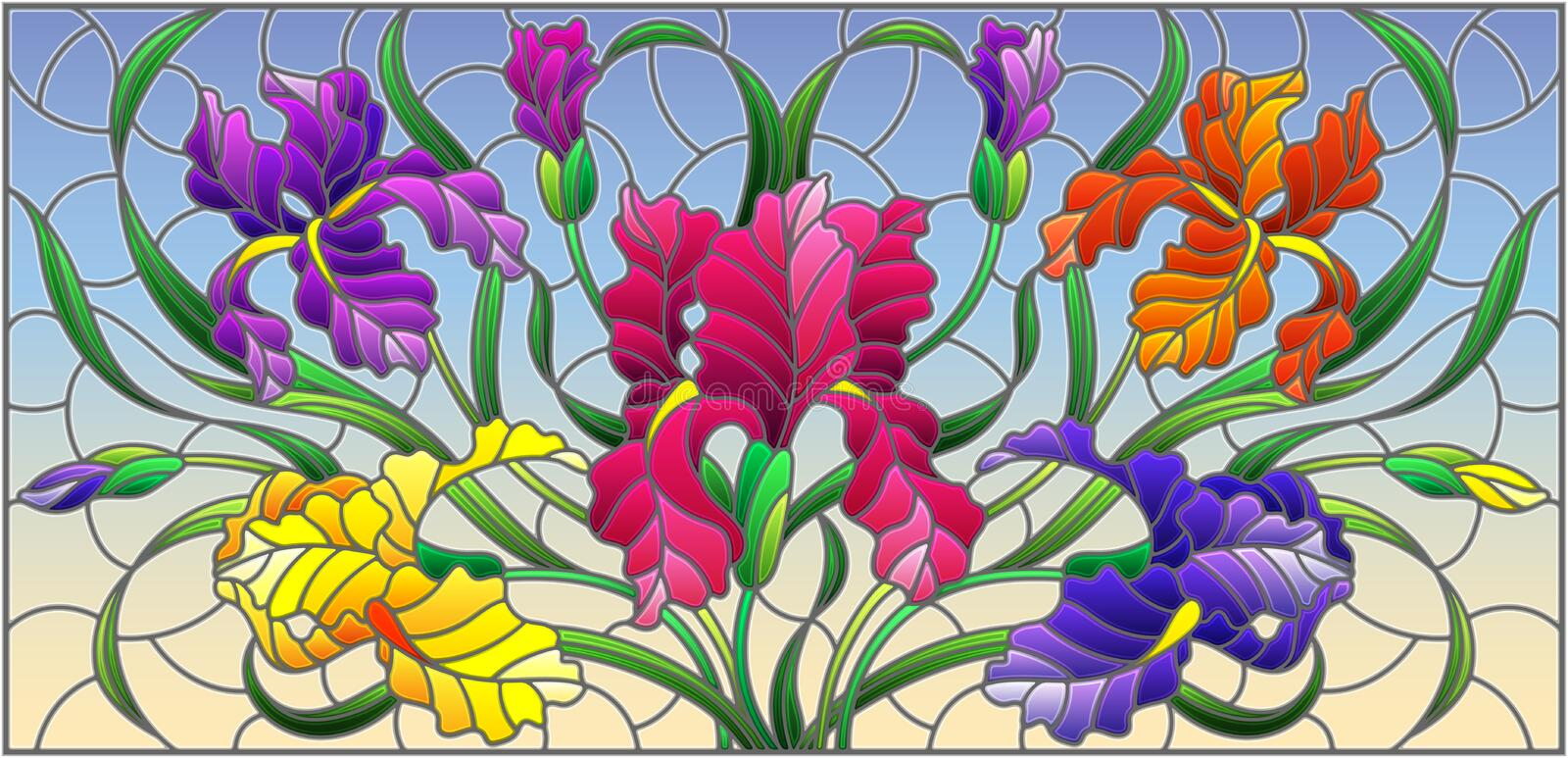 Stained glass illustration with purple bouquet of irises, flowers, buds and leaves on blue background. Illustration in stained glass style with purple bouquet of vector illustration