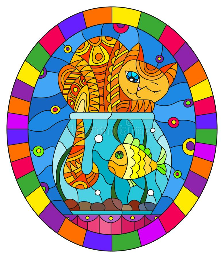 Stained glass illustration with  red abstract cat and goldfish in the aquarium , oval picture frame in bright. Illustration in stained glass style with red royalty free illustration