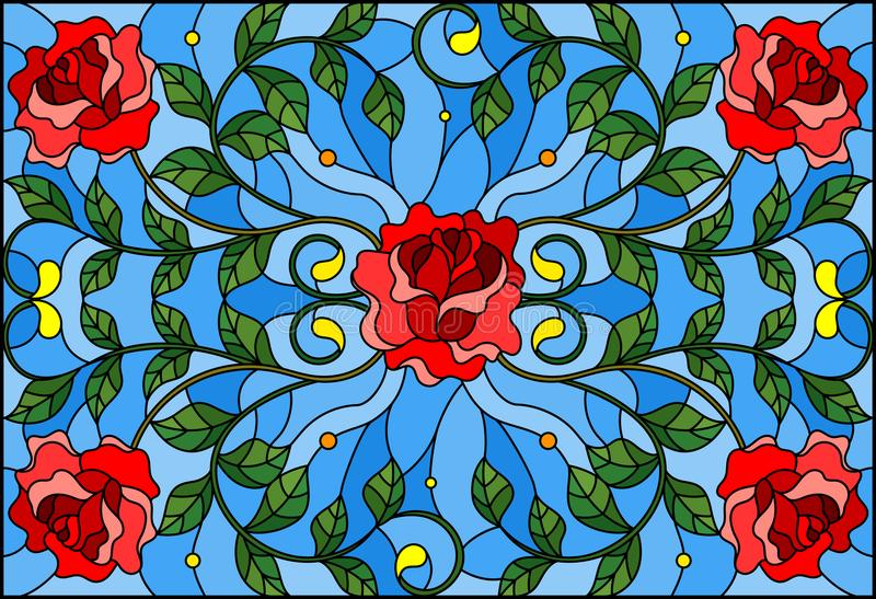 Stained glass illustration with red rose branches on blue background, rectangular image royalty free illustration
