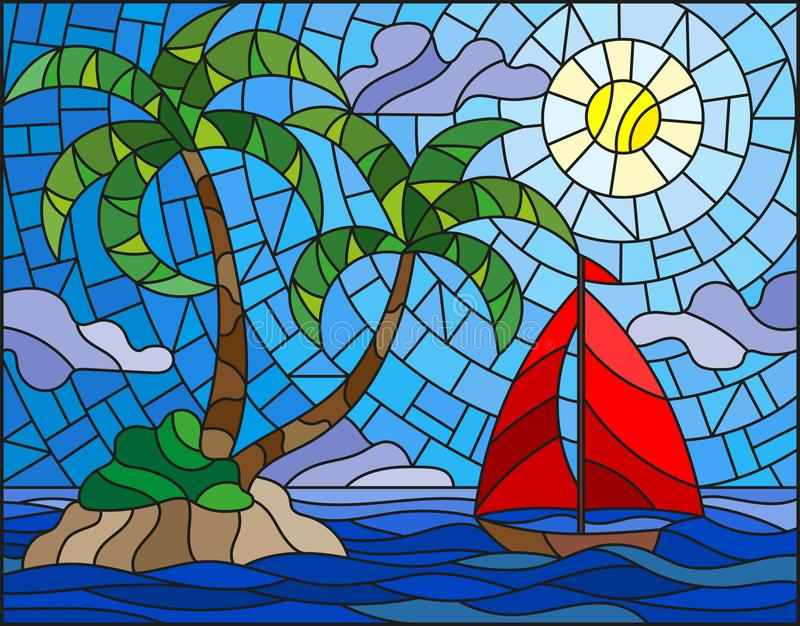 Stained glass illustration with the seascape, tropical island with palm trees and a sailboat on a background of ocean , sun and cl. Illustration in stained glass vector illustration