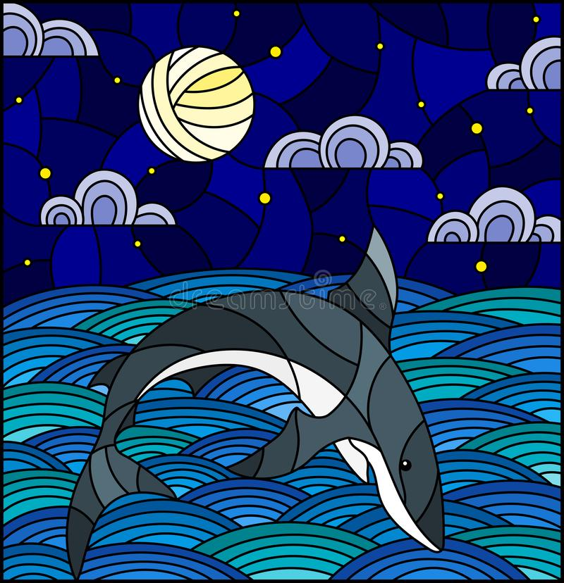 Stained glass illustration with shark into the waves, starry sky,moon and clouds. Illustration in stained glass style with shark into the waves, starry sky,moon royalty free illustration