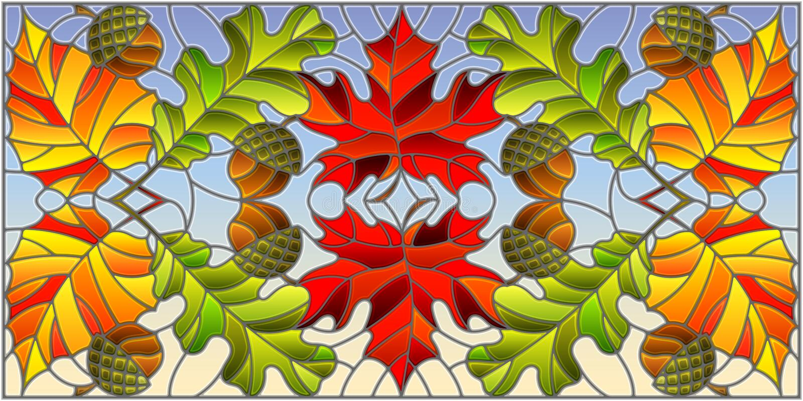 Stained glass illustration with autumn, leaves, oak, maple , aspen and acorns on a sky background,horizontal orientation. Illustration in stained glass style on royalty free illustration
