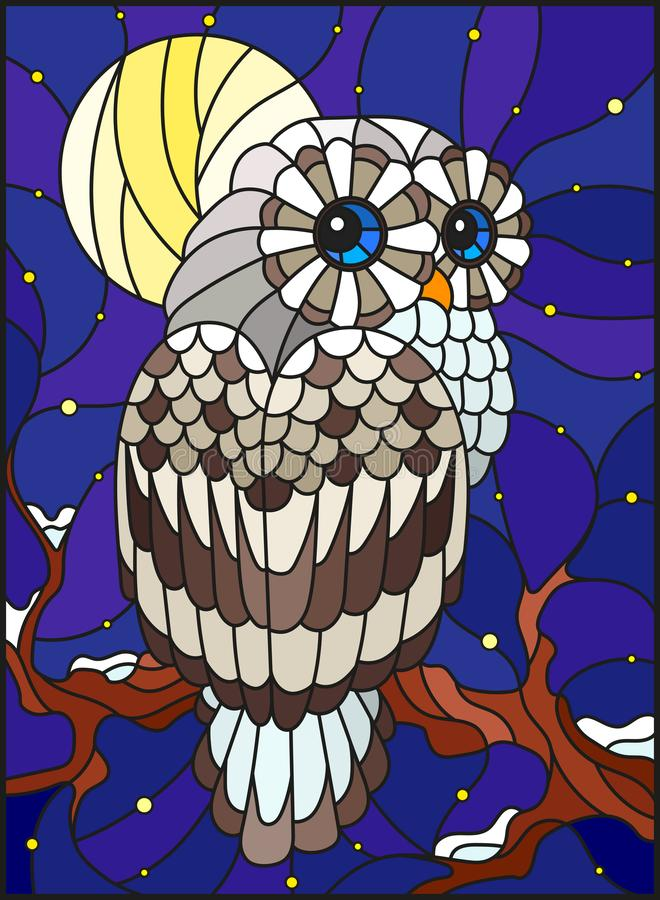 Stained glass illustration with white polar owl sitting on a tree branch against the starry sky and the moon. Illustration in stained glass style with white stock illustration