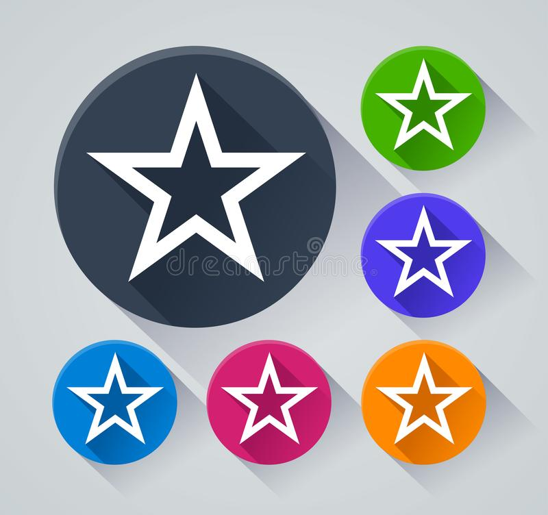 Star circle icons with shadow vector illustration