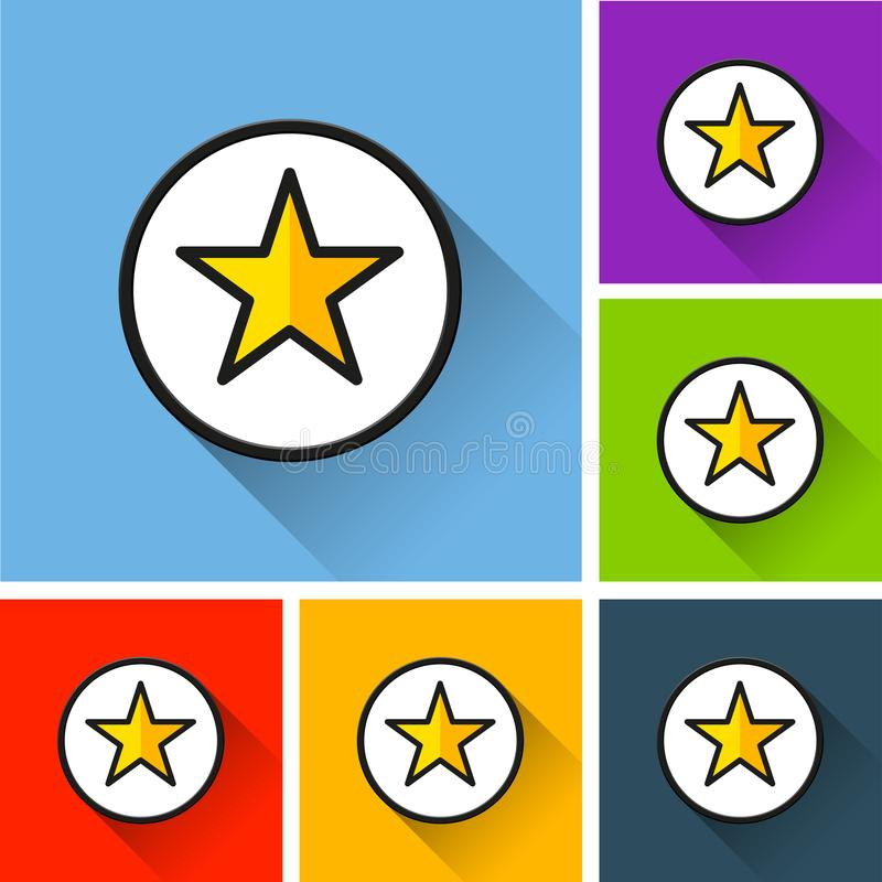 Star icons with long shadow vector illustration