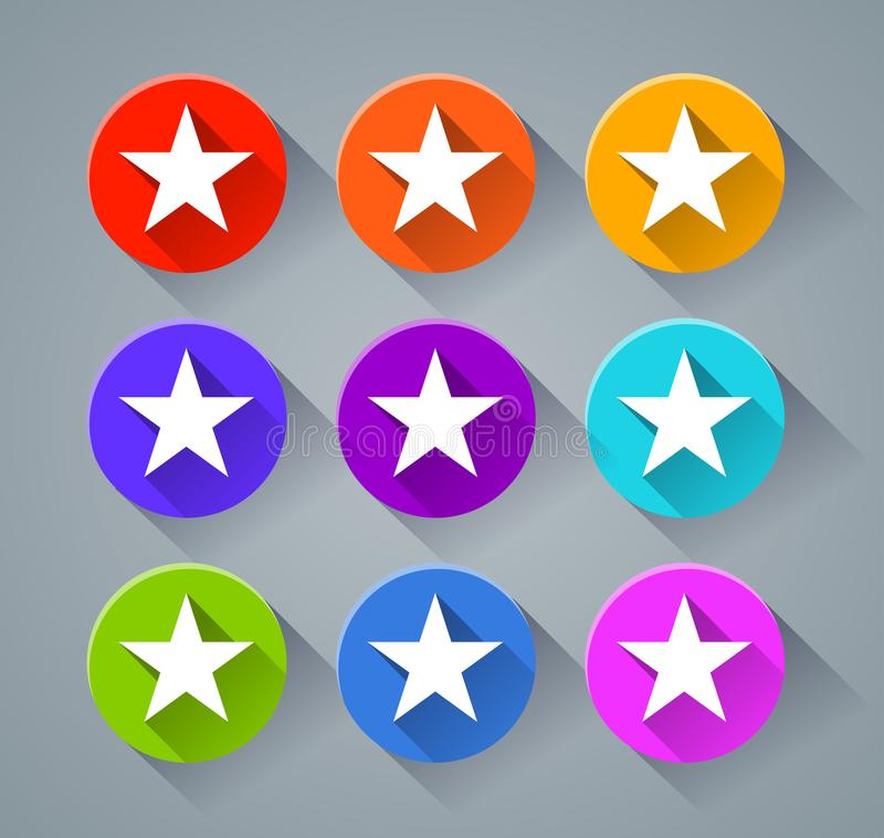 Star icons with various colors royalty free illustration