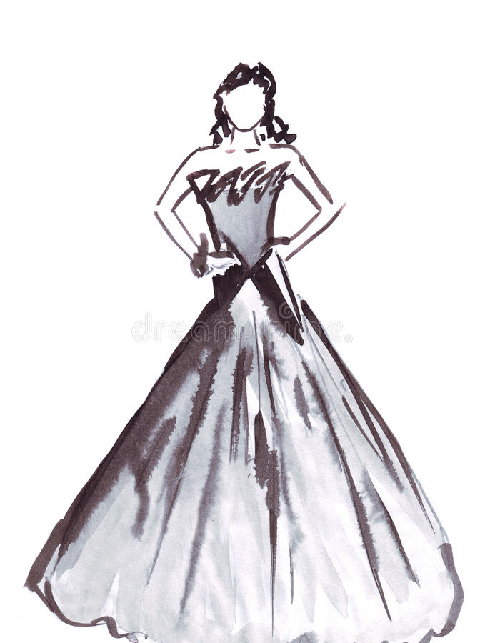 Illustration statuesque female model posing in a ball gown to the floor. On a white background royalty free illustration