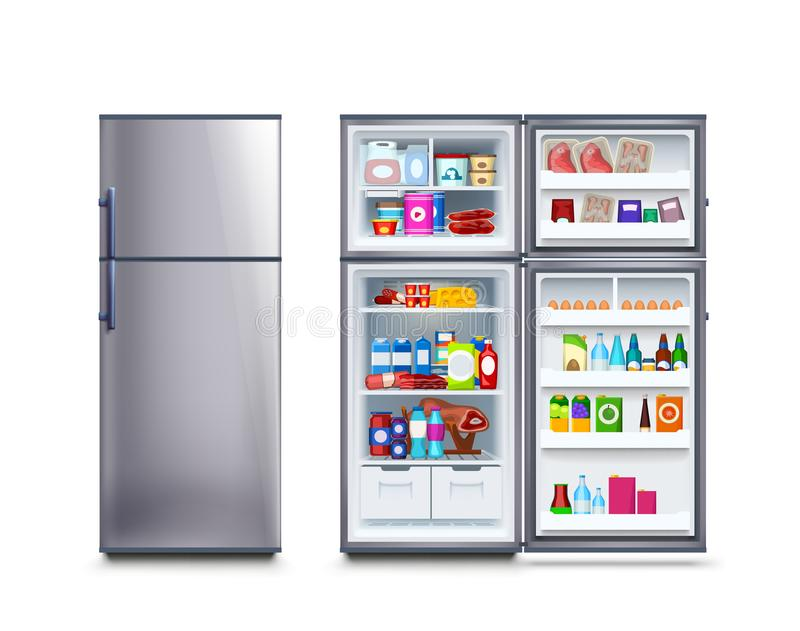 Fridge full of food. Illustration of steel closed and opened fridge full of food with soft shadow on white background stock illustration