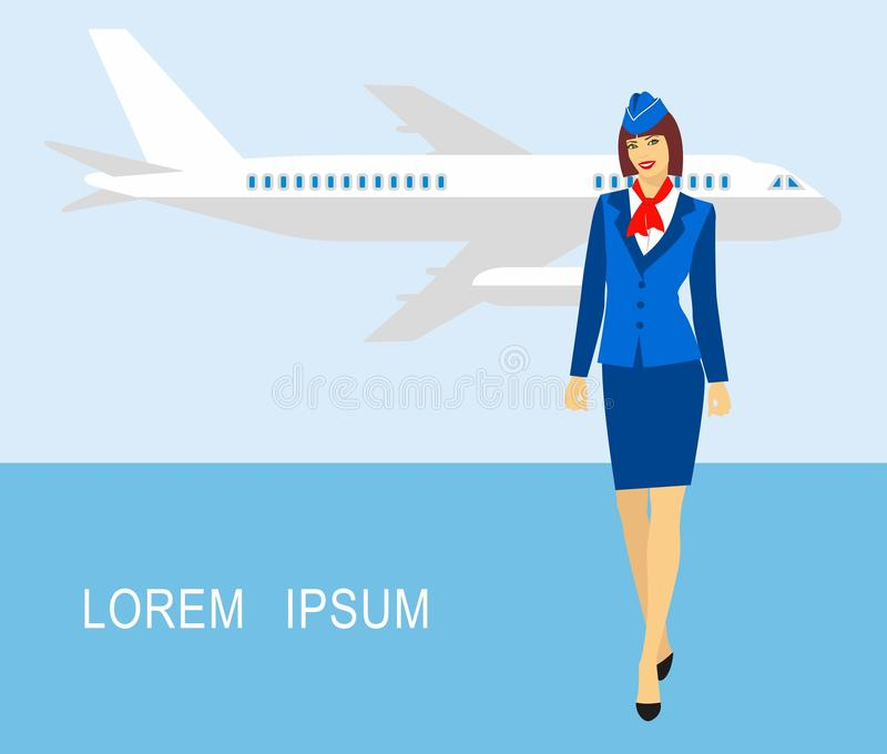 Illustration of stewardess dressed in blue uniform against the backdrop of the aircraft royalty free illustration