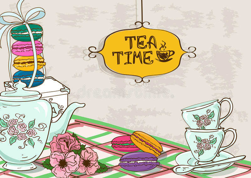 Illustration with still life of tea set and French macaroons stock illustration