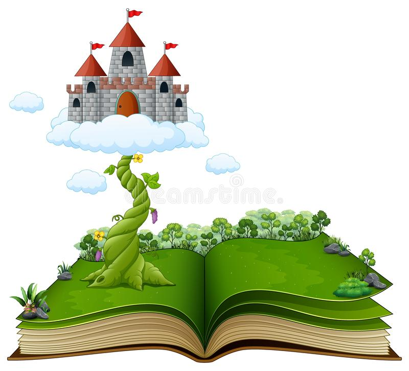 Story book with magic beanstalk and castle in the clouds vector illustration