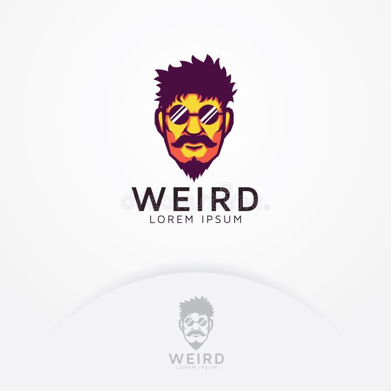 Strange man logo. Illustration of strange bearded man and mustache with glasses - Vector logo template stock illustration