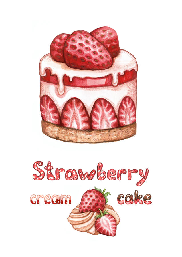 Strawberry Cake Images Download : Illustration Of Strawberry Cake Stock Illustration - Image ...