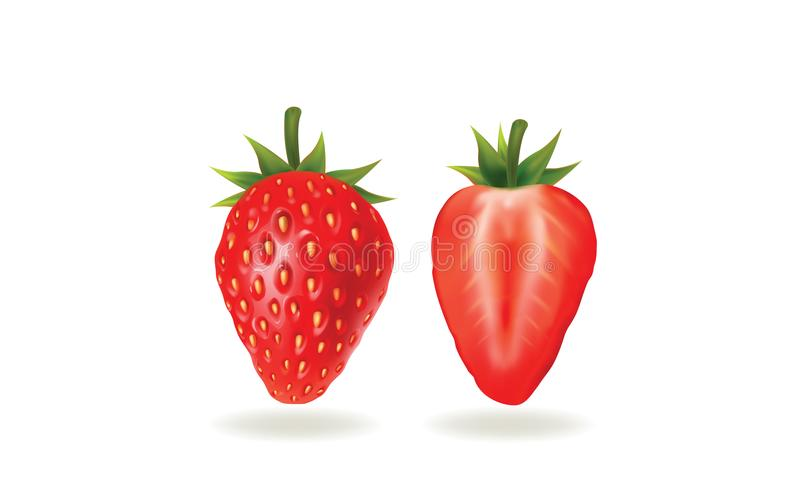 Illustration of a strawberry on white background royalty free stock photos