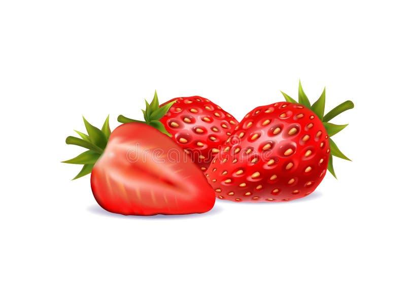 Illustration of a strawberry on white background stock illustration