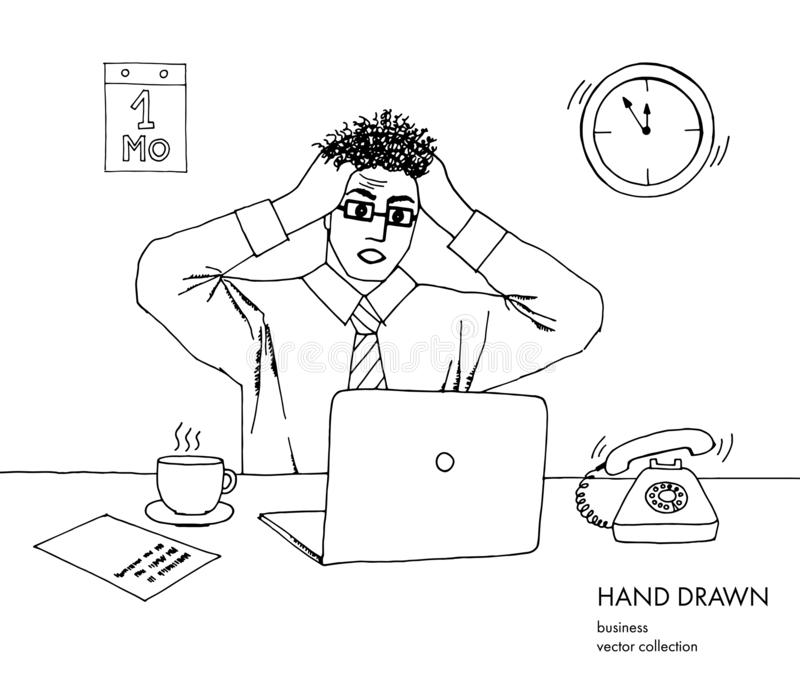 Illustration of stress at work. Young businessman holds his head looking at the monitor. Hair stand on end. A lot of royalty free illustration