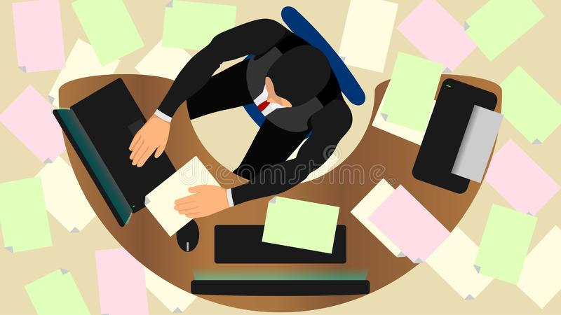 Illustration of stressed office workers with task pressure royalty free illustration