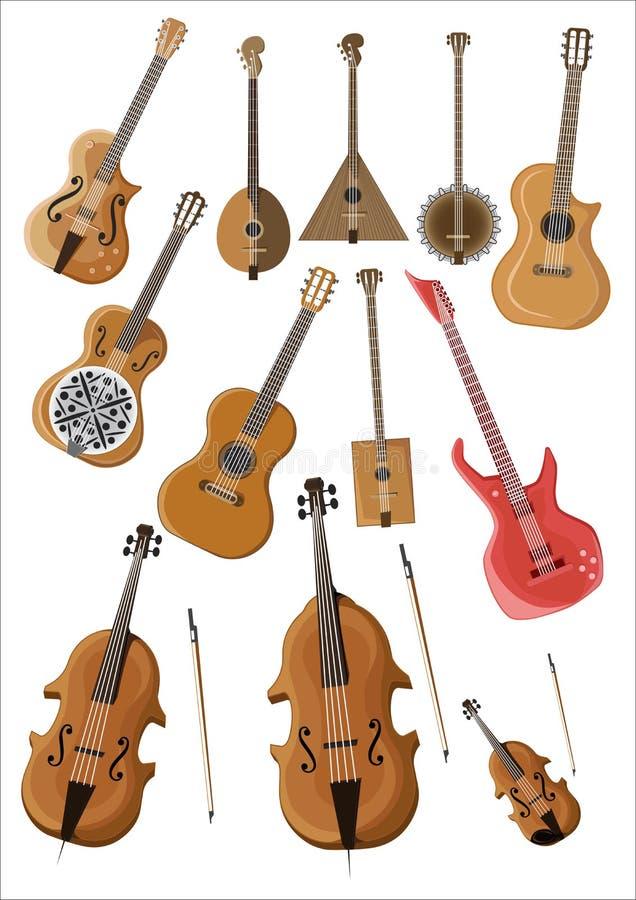 Illustration of stringed musical instruments stock illustration