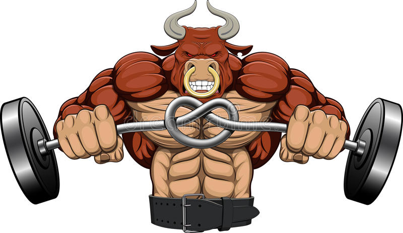 Illustration: a strong angry bull stock illustration