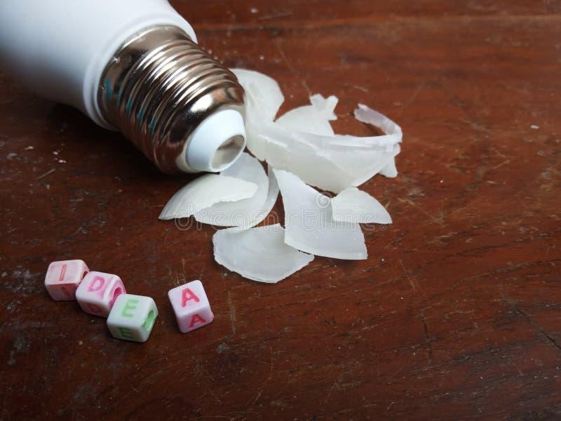 Photo Illustration, Stuck Idea, text from plastic alphabet bead and broken small led bulb. Illustration, Stuck Idea, text from plastic alphabet bead and broken vector illustration